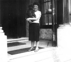 Friedel with her poodle Othello at Sandringham Court, London, 1950s